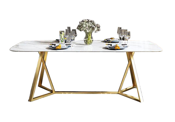 Contemporary Design Rectangular  Marble  TOP Dining Table in Gold