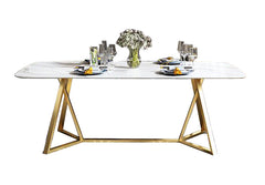 Contemporary Design Rectangular  Marble  TODining Table in Gold