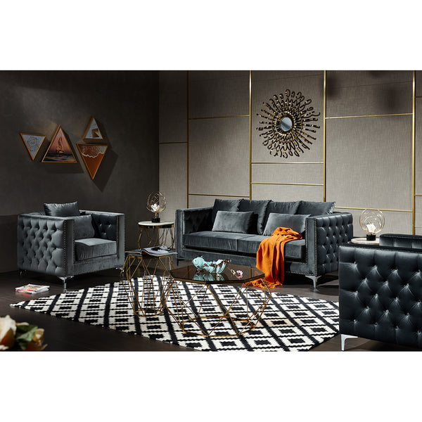 3-Pieces  Modern Metal Style Sofa Set, Dark Gray