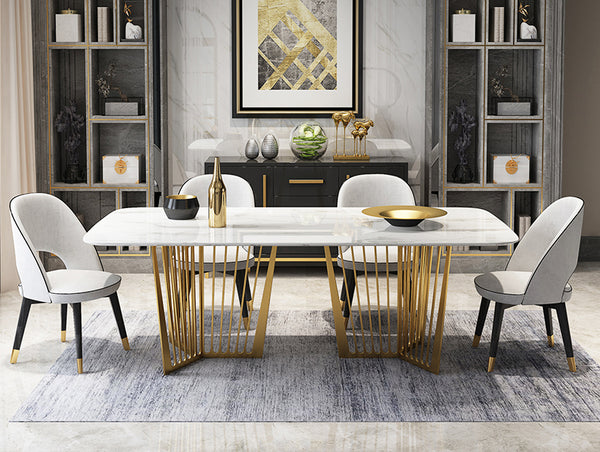 Contemporary Design Rectangle  Large Dining Table in Gold with White Faux Marble Top