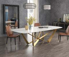 Contemporary Design Geometry  Rectangle Large Dining Table in Gold with White Faux Marble Top