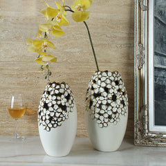 Exquisite Ceramic Flower Vase with Delicate Blossom Figurine