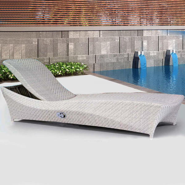 Gray Wicker Outdoor Chaise Lounge