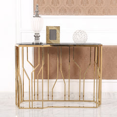 Modern Glass Console Table, Black Top & Gold Metal Frame