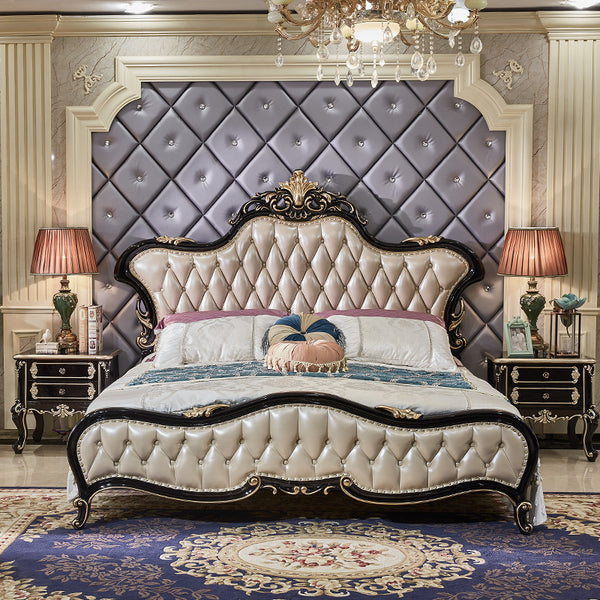 Luxury Classic Italian King Size Bed with Leather Cover