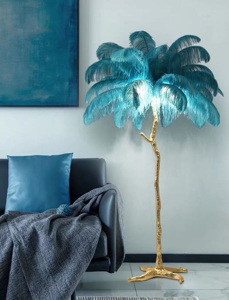 A Modern Grand Tour-LED Ostrich Palm Tree Floor Lamp /Standing Lamp- Brass Base