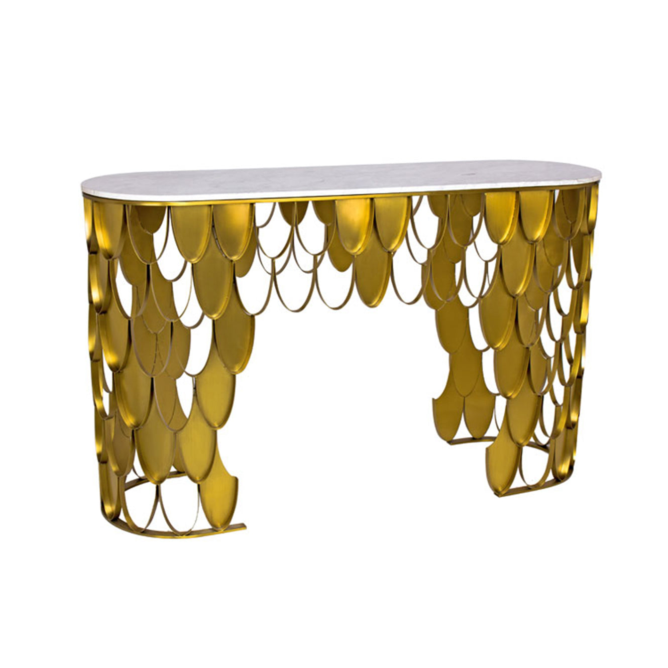 Marble Top Console Table with Mermaid Frame, Gold