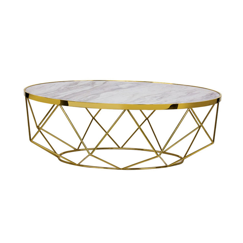 Modern Marble Coffee Table - Gold Cocktail Tables, White