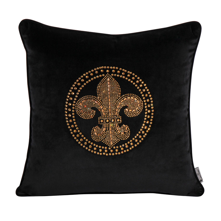 Decorative Saint Throw Pillow Velvet with Diamond Decor Cushion, Black