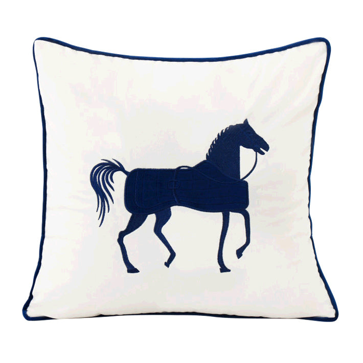 Horse Pattren Embroidered Throw Pillow Decor Cushion, White\Blue