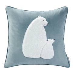 Velvet Flannel Urso Polar Throw Pillow Decor Cushion, Blue