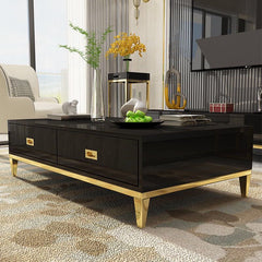 White/Black Coffee Table with Two Drawlers Gold Stainless Steel