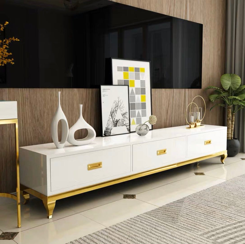 White/Black 71 Inch TV Stand & Gold stainless steel