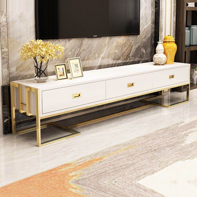 American light luxury White/Black 71 Inch TV Stand with gold stainless steel & tempered glass surface