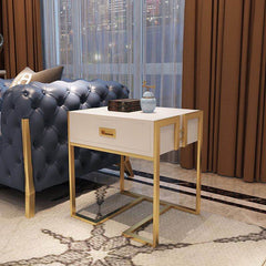 American light luxury White/Black Side table with gold stainless steel & tempered glass surface