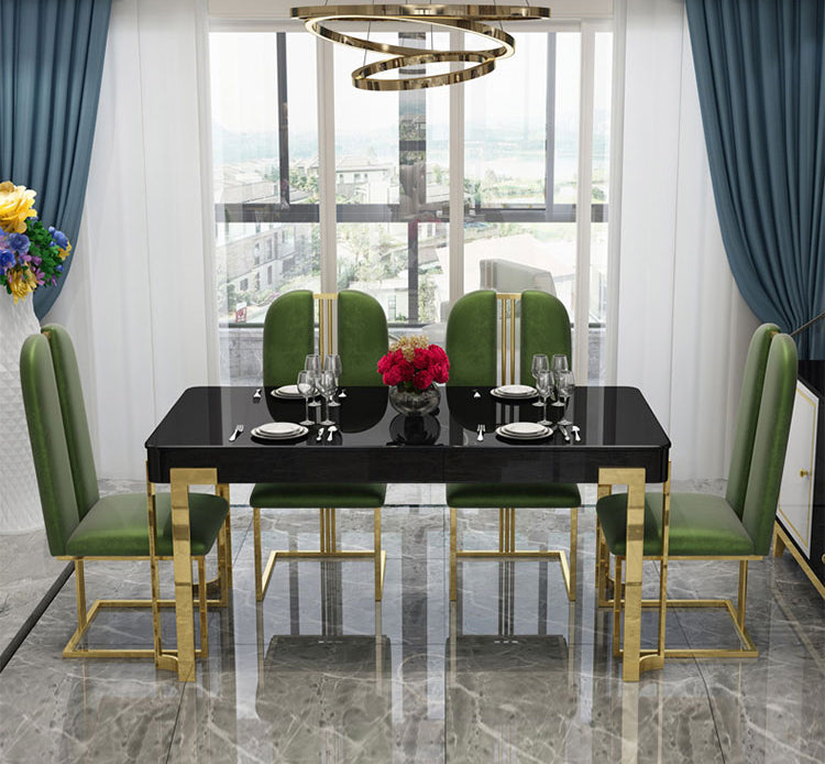 Contemporary Design Rectangle Large Dining Table in Gold with Black Faux Marble Top