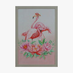 Oil Painting - Flamingo with flower
