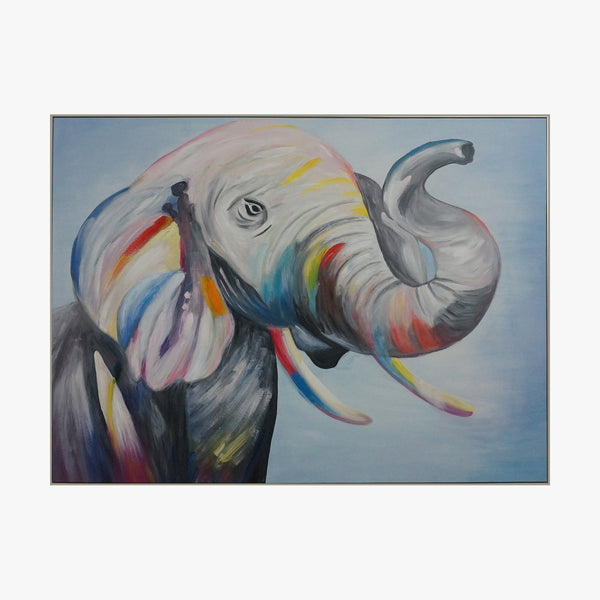 Oil Painting - Elephant colorful