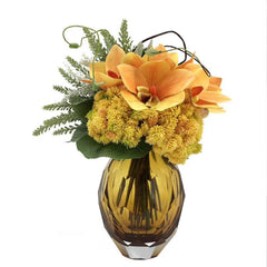 Ikebana Art - Artificial Hydrangea, Orchid and Asparagus Cochinchinensis with Vase