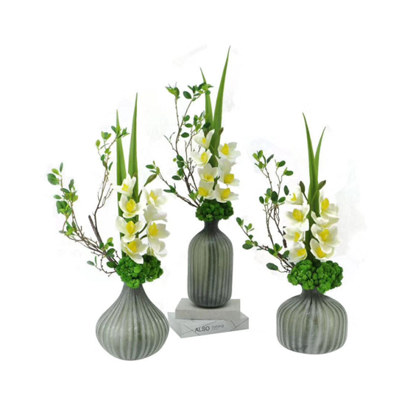 Ikebana Art - Artificial Magnolia, Eucalyptus and Underleaf Pearl with Vase