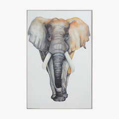 Oil Painting - Elephant - White