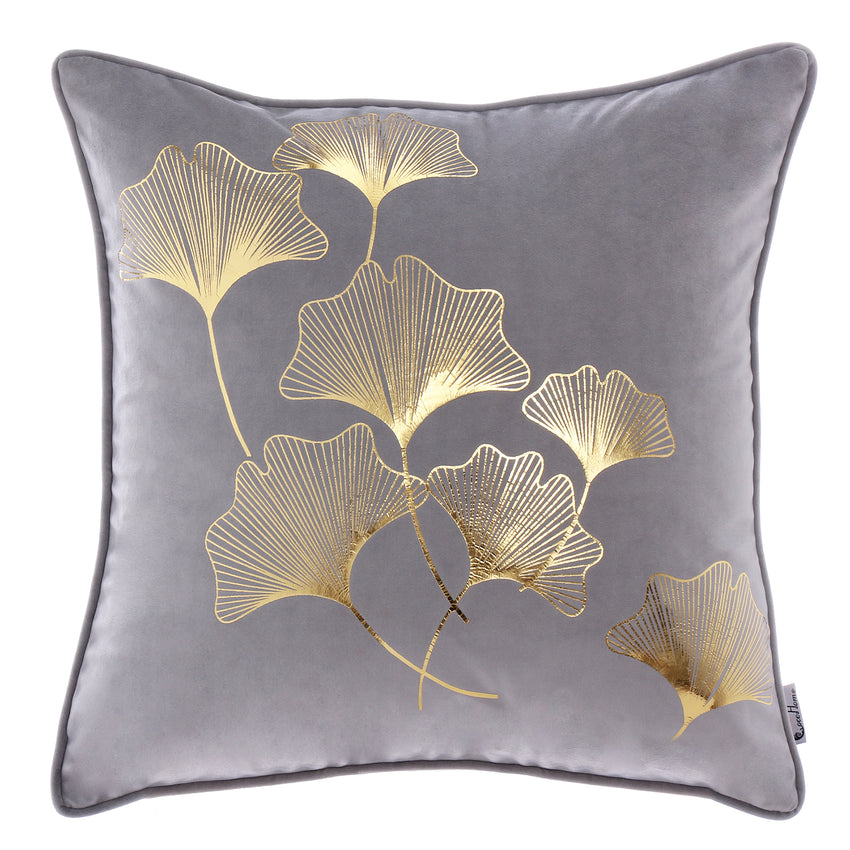 Ginkgo Leaf Floral Ornament pillow Cushion , Gray