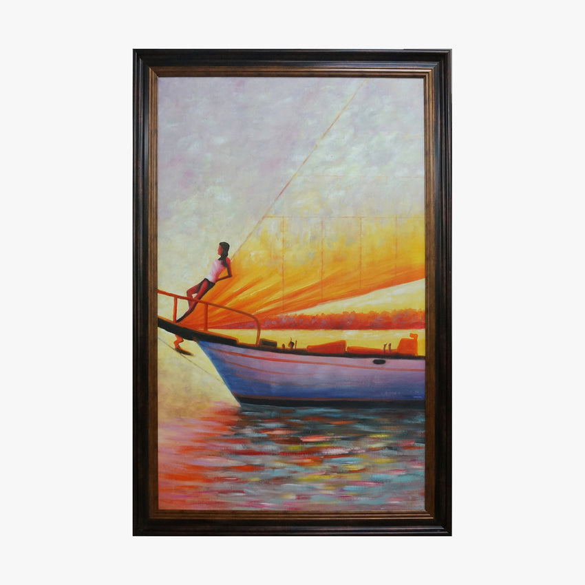 Oil Painting - Yacht Sunset