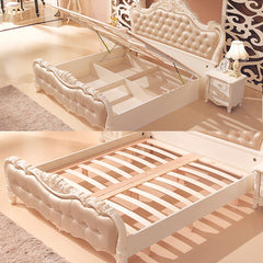 Rose Gold and Pearl White Bed With Floral Motif
