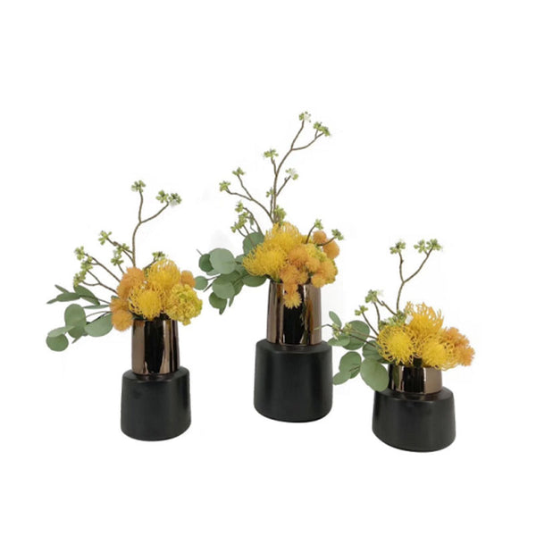 Ikebana Art - Artificial Leucospermum Cordifolium and Eucalyptus with Vase