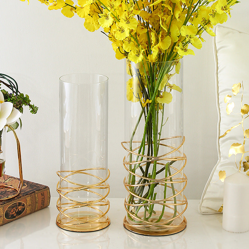 Clear Glass Vases with Golden Decor Line