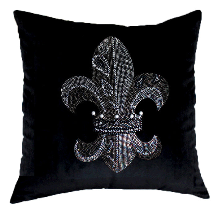 Decorative Saints Throw Pillow Velvet with Diamond, Black
