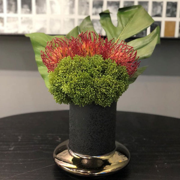 Ikebana Art - Artificial Hydrangea and Leucospermum Firedance with Vase