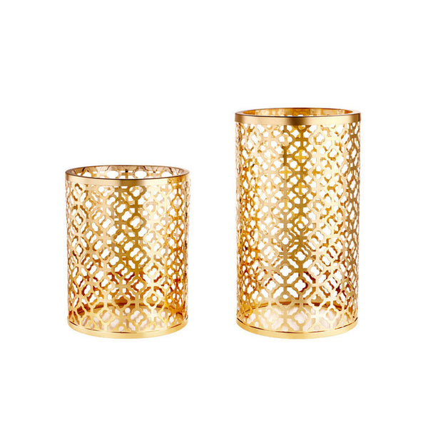 Colored Laser Cut Decorative Candle Holder, Gold