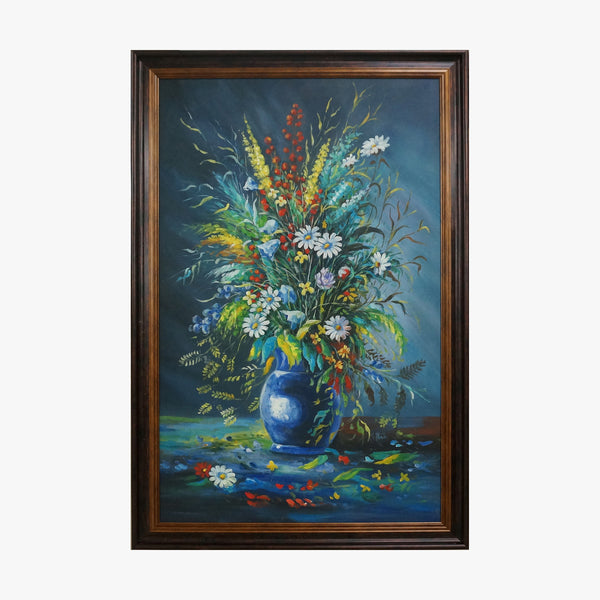 Oil Painting - Ikebana in blue vase