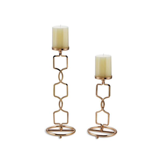 Metal Pillar Candle Holders, Flameless Candlestick, Gold