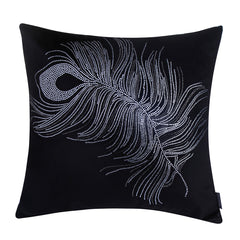 Vintage Peacock Feather Decorative Pillow, Black