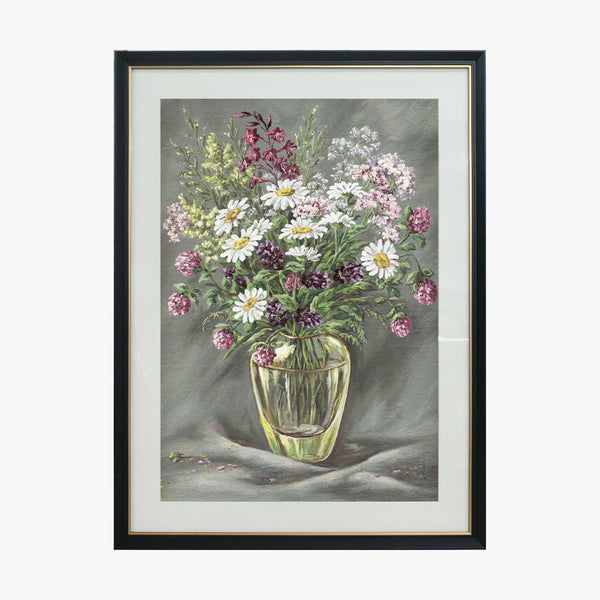 Oil Painting - CatChrysanthemum in Vase