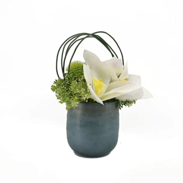 Ikebana Art - Artificial Hydrangea and Orchid with Vase