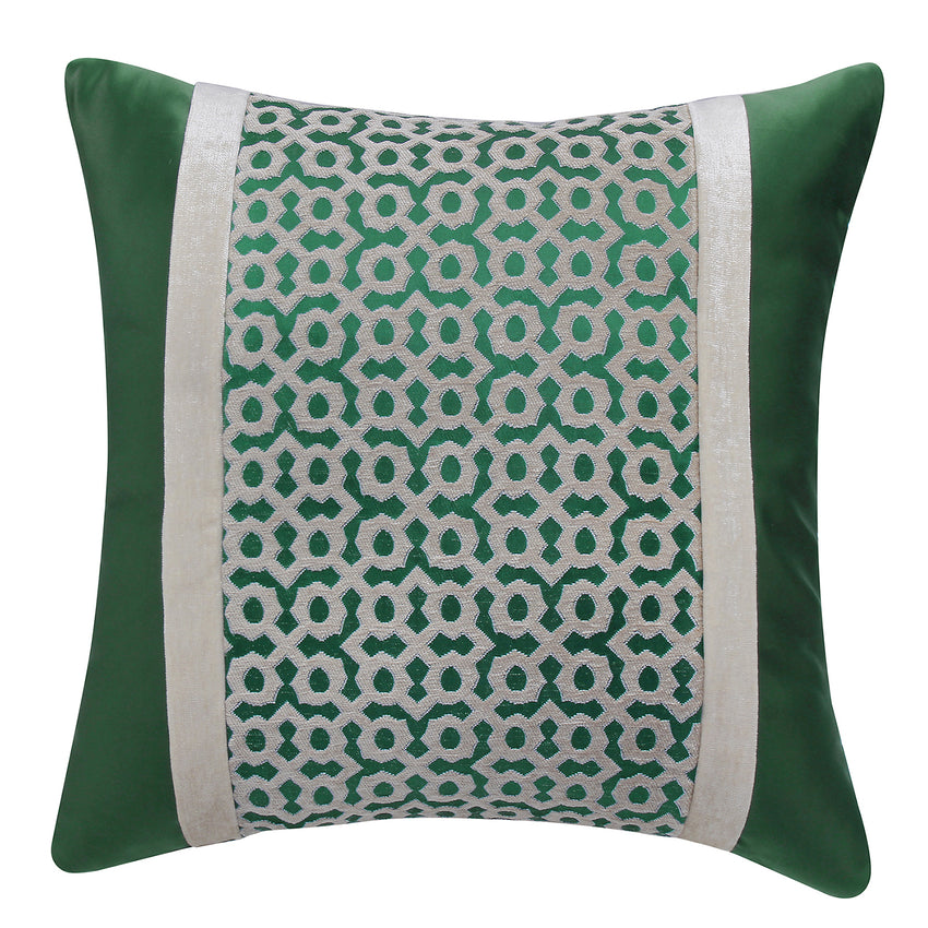 Soft Quilted Pattern Velvet Throw Pillow Decor Cushion, Green