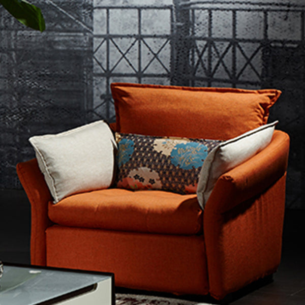 L-Shape Couch with Orange Armchair