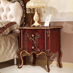 Luxury European Style Classic End Table - Modern Sculpture 2 Drawers Curving Bedside Table
