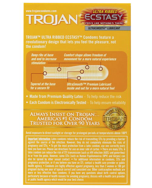 Trojan Stimulations Ecstasy Ribbed Condoms - Box Of 10