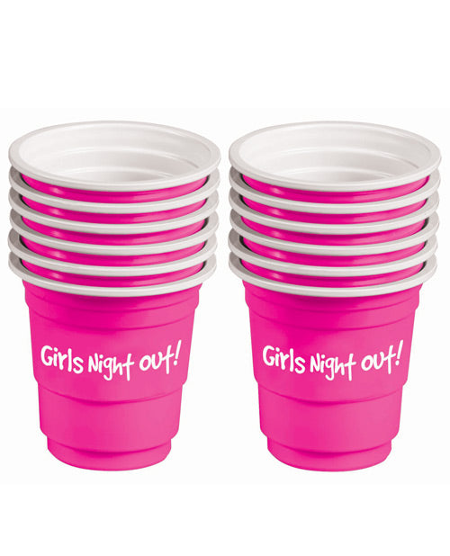 Girls Night Out! Bachelorette Plastic Shot Glasses - Pink Set Of 12