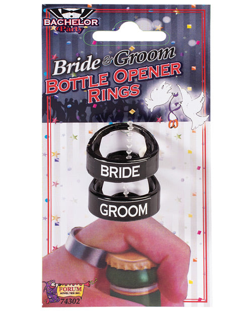 Bachelor Party Bride & Groom Bottle Opener Rings - Pack Of 2