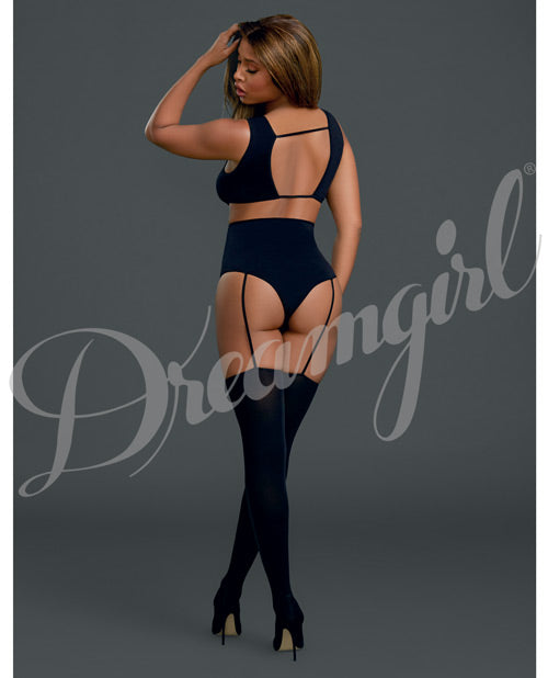 Cross Vest Teddy Bodystocking Black O/s