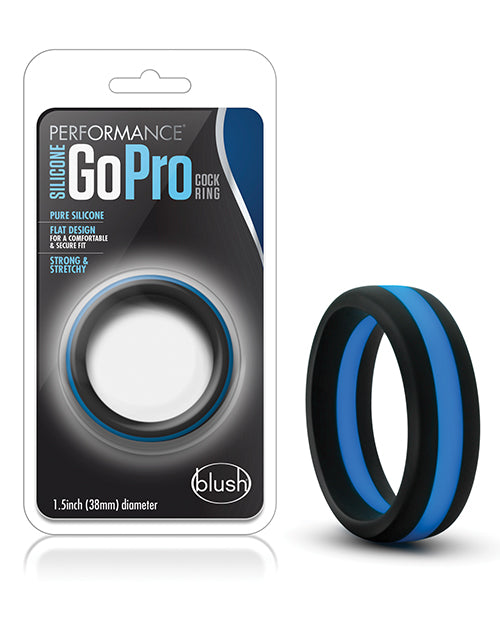 Blush Performance Silicone Go Pro Cock Ring - Black/blue