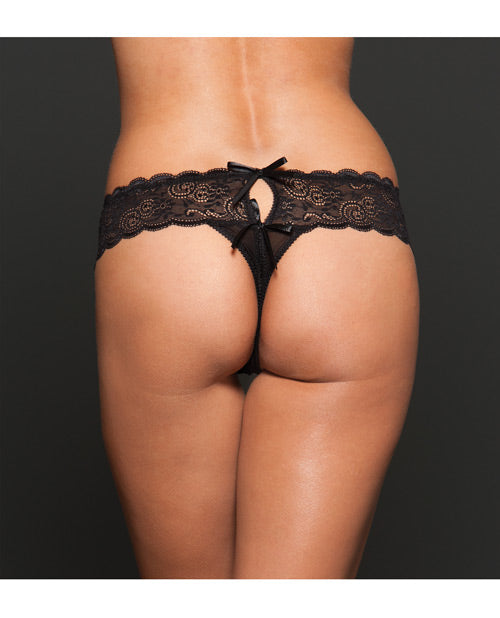 Open Crotch Mesh Thong Black Qn