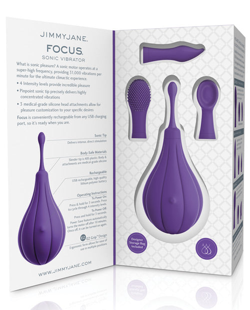 Focus Sonic Vibrator - Includes 3 Silicone Head Attachments