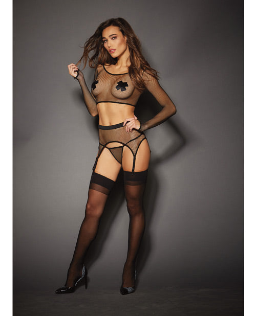 Stretch Fishnet Top, Garter Belt & Attached Garters & G-string Black O/s