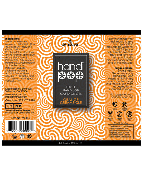 Handipop Hand Job Massage Gel - 4.2 Oz Orange Creamsicle